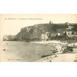 carte postale ancienne 76 ETRETAT. Plage Roches Blanches