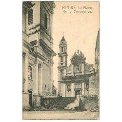 carte postale ancienne 06 MENTON. La Place de la Conception. Carte pionnière vers 1900