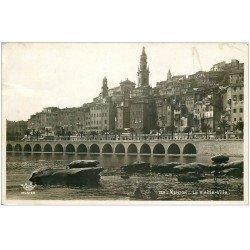 carte postale ancienne 06 MENTON. La Vieille Ville. Carte émaillographie 1937 (timbre manquant)...