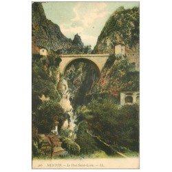 carte postale ancienne 06 MENTON. Le Pont Saint-Louis 466 en couleur