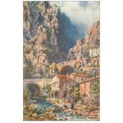 carte postale ancienne 06 MENTON. Le Pont Saint-Louis à la Frontière 1921
