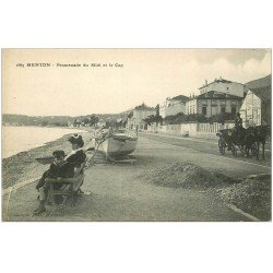 carte postale ancienne 06 MENTON. Promenade du Midi et le Cap. Fiacre en attente...