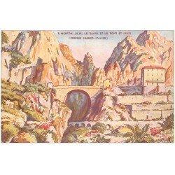 carte postale ancienne 06 MENTON. Ravin et Pont SDaint-Louis. Frontière 1928 (plissure)