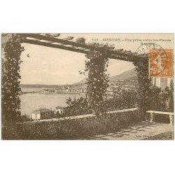 carte postale ancienne 06 MENTON. Vue entre les Fleurs 1928