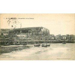 carte postale ancienne 76 LE TREPORT. Avant-Port 1914 et Falaises