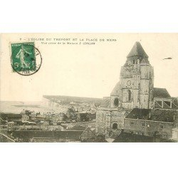 carte postale ancienne 76 LE TREPORT. Eglise Place de Mers 1907