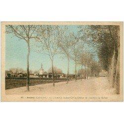 carte postale ancienne 44 ANCENIS. Avenue Joubert Statue du Bellay. Beau timbre 1.50 fr