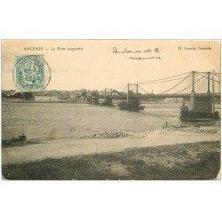carte postale ancienne 44 ANCENIS. Le Pont Suspendu 1905