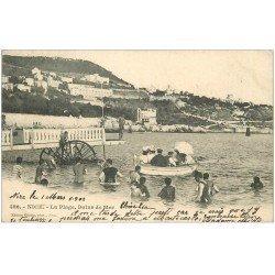 carte postale ancienne 06 NICE. Bains de Mer 1902. Plongeoir flottant...
