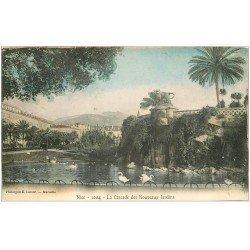 carte postale ancienne 06 NICE. Cascades des Jardins avec Cygnes 1902