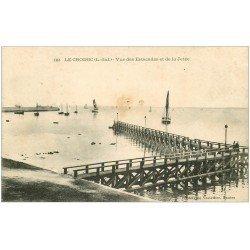 carte postale ancienne 44 LE CROISIC. Estacades et Jetée vers 1906