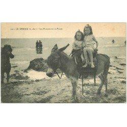 carte postale ancienne 44 LE CROISIC. Promenade à dos d'âne 1919
