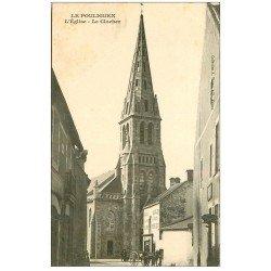 carte postale ancienne 44 LE POULIGUEN. Eglise et Clocher. Primeur Aux Quatre-Saisons