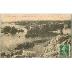 carte postale ancienne 44 LE POULIGUEN. La Côte avec Chasseurs 1913