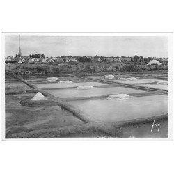 carte postale ancienne 44 LE POULIGUEN. Marais Salants. Mulons et Sel. Carte Photo