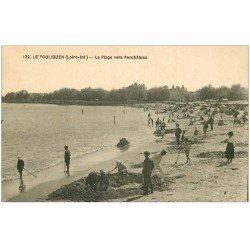 carte postale ancienne 44 LE POULIGUEN. Plage vers Penchâteau. Jeux de sable