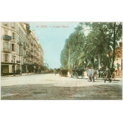 carte postale ancienne 06 NICE. Fiacres Calèches Avenue Thiers