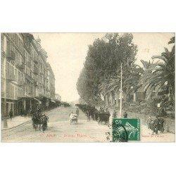 carte postale ancienne 06 NICE. Fiacres Calèches Avenue Thiers 1908