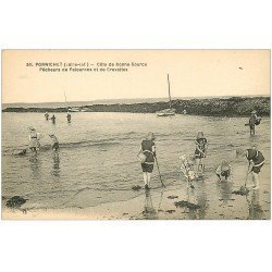 carte postale ancienne 44 PORNICHET. Pêcheurs Palourdes et Crevettes