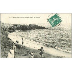 carte postale ancienne 44 PORNICHET. Rochers de la Pointe 1910