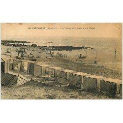 carte postale ancienne 44 PREFAILLES. Tentes de Plage 1924 (défauts)...