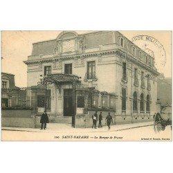 carte postale ancienne 44 SAINT-NAZAIRE. La Banque de France. Tampon Militaire