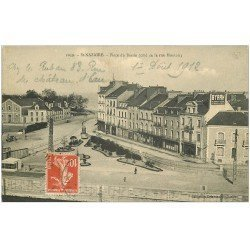 carte postale ancienne 44 SAINT-NAZAIRE. Place du Bassin Rue Montoir 1912. Affiche Byrrh
