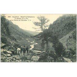 carte postale ancienne 38 BELLEDONNE. Massif et Sentier de la Pra. Contrebandiers avec Chevaux