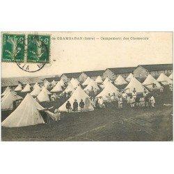 carte postale ancienne 38 CAMP DE CHAMBARAN. Campement de Chasseurs 1912