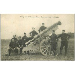 "carte postale ancienne 38 CAMP DE CHAMBARAN. Canon de 155 court """" Le Rimailho """" 1909"