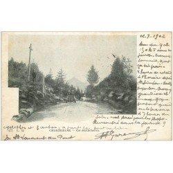 carte postale ancienne 38 CHARTREUSE. Col du Cucheron voiture ancienne 1902