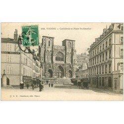 carte postale ancienne 38 VIENNE. Cathédrale Place Saint-Maurice 1916