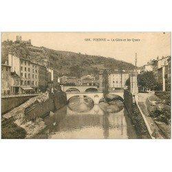 carte postale ancienne 38 VIENNE. Gère et Quais Hôtel de l'Union