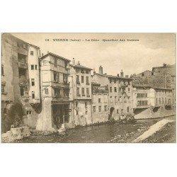 carte postale ancienne 38 VIENNE. La Gère Quartier des Usines 1919