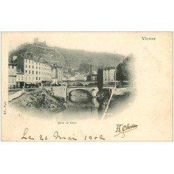carte postale ancienne 38 VIENNE. Quai de Gère. Timbre 1 Centime 1902
