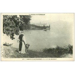 carte postale ancienne 73 ABBAYE D'HAUTECOMBE. Chien Saint-Bernard 1937