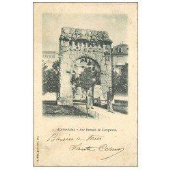 carte postale ancienne 73 AIX-LES-BAINS. Arc Campanus et Porteurs. Timbre 5 Centimes 1903