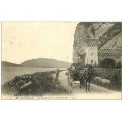 carte postale ancienne 73 AIX-LES-BAINS. Attelage Le Colombier Lac du Bourget