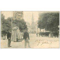 carte postale ancienne 73 AIX-LES-BAINS. Chaises à Porteurs 1903 Place des Thermes