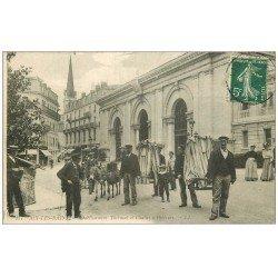 carte postale ancienne 73 AIX-LES-BAINS. Chaises à Porteurs 1909 et Anes