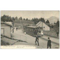 carte postale ancienne 73 AIX-LES-BAINS. Départ d'un Train Sommet du Mont Revard