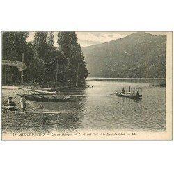 carte postale ancienne 73 AIX-LES-BAINS. Grand Port Dent du Chat Lac du Bourget