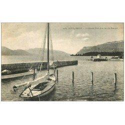 carte postale ancienne 73 AIX-LES-BAINS. Grand Port Lac du Bourget avec Voilier 1919