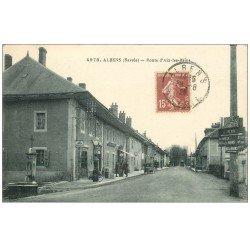 carte postale ancienne 73 ALBENS. Route d'Aix-les-Bains 1928 Pompe à Essence manuelle Mobioil