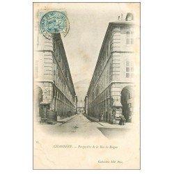 carte postale ancienne 73 CHAMBERY. 1903 Rue de Boigne Kiosque journaux et vespasiennes