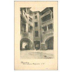 carte postale ancienne 73 CHAMBERY. Cour rue Croix d'Or 1929. Papier velin style Parchemin par Jacques