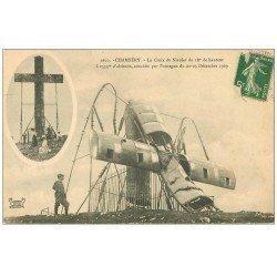 carte postale ancienne 73 CHAMBERY. Croix du Nivolet couché par Ouragan 1909