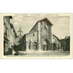 carte postale ancienne 73 CHAMBERY. La Cathédrale 1946 et Restaurant