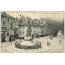 carte postale ancienne 73 CHAMBERY. Monument Centenaire Boulevard du Musée et magasin de cartes postales