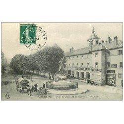 carte postale ancienne 73 CHAMBERY. Place Centenaire Boulevard de la Colonne. Auto-Garage Salamo Dion et Tabac
